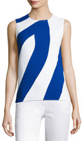Narciso Rodriguez Bicolor Crepe Sleeveless Top, White