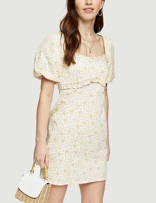 Topshop Floral-print stretch-cotton mini dress