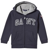Gant Navy Embroidered Branded Hoodie