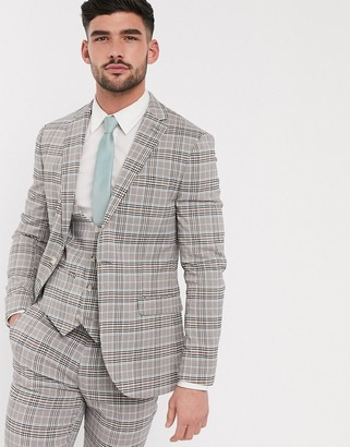 Topman skinny fit checked suit jacket in beige