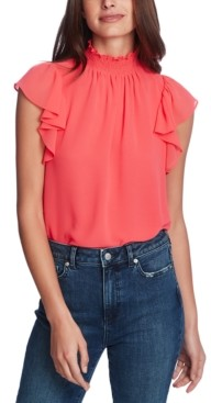 1 STATE Flutter-Sleeve Solid Top