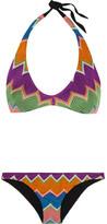 Missoni Mare Zigzag Crochet-knit Halterneck Bikini - Dark purple