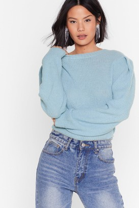 Nasty Gal Womens Knit the Mark Relaxed Crew Neck Jumper - Blue - L