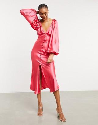 ASOS DESIGN satin button through tie back midi tea dress with shirring detail in hot pink