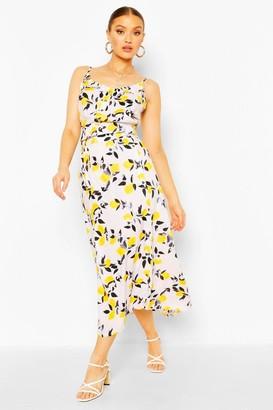 boohoo Woven Citrus Print Cami Top & Midi Skirt Co-ord Set
