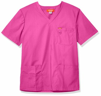 Orange Standard Men's Balboa V-Neck Unisex Scrub Top with Multiple Pockets and D-Ring