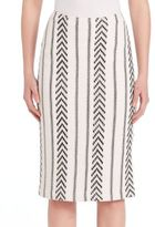 St. John Two-tonal Silk Pencil Skirt