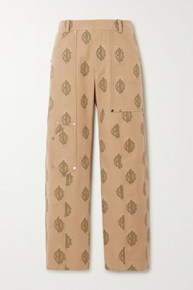 Chloé Embroidered Cotton-gabardine Cargo Pants - Beige