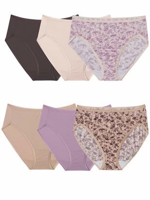 Fruit of the Loom Women's Ladies 6-Pack Microfiber Hi-Cut Panty