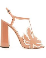 Rochas Leaf-appliqué patent-leather sandals