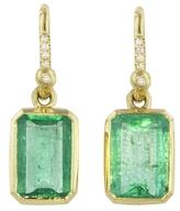 Irene Neuwirth Pavé Diamond and Emerald Rectangle Earrings