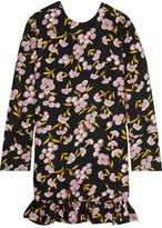 Marni Ruffled Floral-print Cotton And Silk-blend Mini Dress - Black