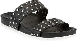 J/Slides Erika Dome-Studded Leather Slide Sandals