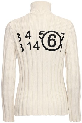 MM6 MAISON MARGIELA Logo Ribbed Knit Cotton Zip Sweater