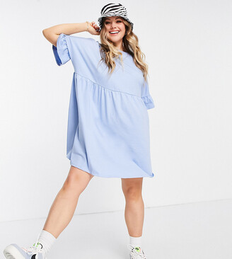 ASOS DESIGN Curve super oversized frill sleeve smock in chambray