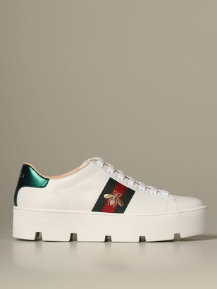 Gucci New Ace Sneakers In Leather With Platform Sole