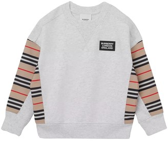 Burberry Kids Grey Iconic Print Patch Jumper