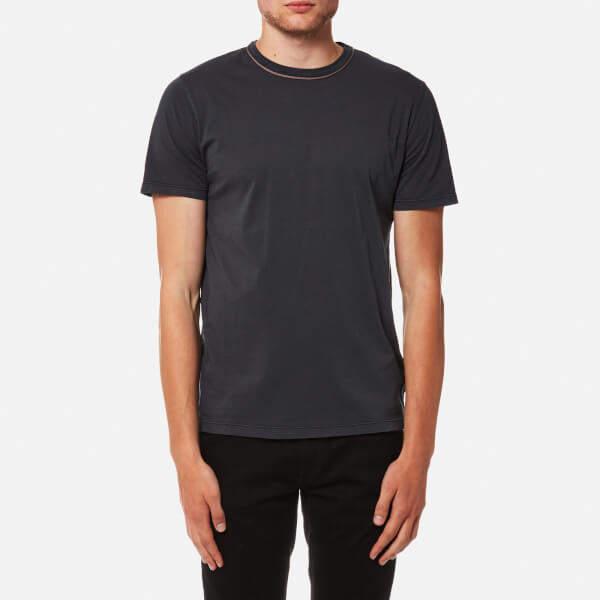 Officine Generale Men's Piping Neck Pigment Dye TShirt - Faded Black