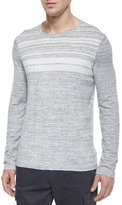 Vince Jaspe Striped Crewneck Sweater, Gray/White