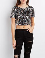 Charlotte Russe Sequin Boxy Crop Top