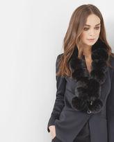 TIZZY Pompom faux fur scarf
