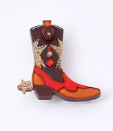 Erstwilder Brown Cowboy Boot Scootin Resin Brooch