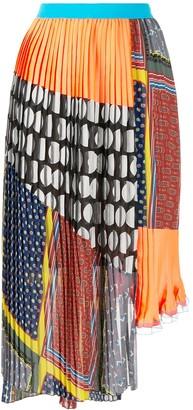Kolor Mix Pattern Pleated Skirt