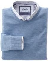 Charles Tyrwhitt Sky merino wool crew neck sweater