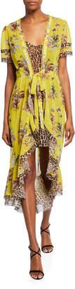 Le Superbe Safari Leopard-Print High-Low Wrap Tie-Waist Dress