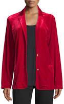 Joan Vass Velvet Two-Button Blazer, Black