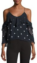 Nicholas Polka Dot Spiral-Sleeve Cold-Shoulder Silk Top, Blue/White