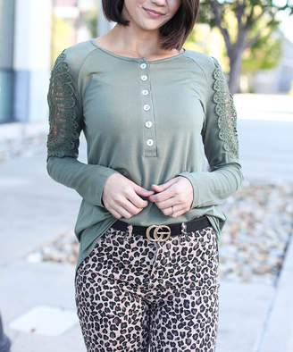 Couture Luxe Women's Blouses Olive - Olive Lace Cutout Henley - Women