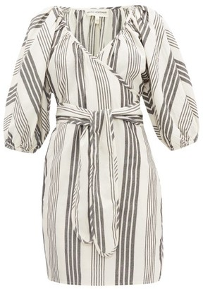 Mara Hoffman Coletta Stripe-jacquard Tencel-blend Wrap Dress - Black Stripe