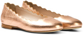 Chloé Rose Gold Leather Ballerina Pumps