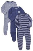 F&F 3 Pack of Striped and Plain Sleepsuits, Infant Unisex