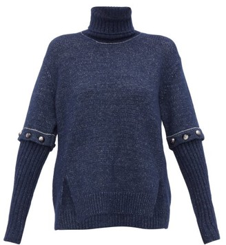 Chloé Roll-neck Detachable-sleeve Knitted Sweater - Womens - Navy