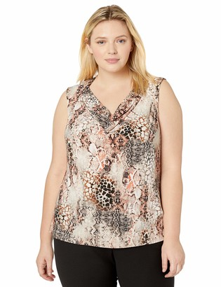 Kasper Women's Plus Size Sleeveless Cowl Neck Snake Print Knit TOP