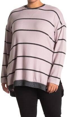 MelloDay Stripe Fleece Hi-Lo Tunic