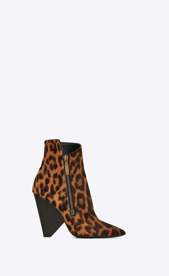 031cfc8cd25 Niki Shoes Niki Wedge Booties In Leopard Printed Pony Effect Leather  Natural 3