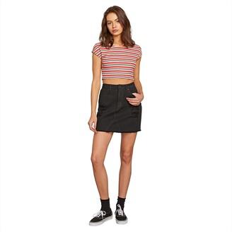 Volcom Junior's Women's Stoned High Rise Raw Hem Mini Skirt
