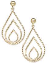 Macy's 10k Gold Earrings, Polished and Rope Triple Teardrop Earrings