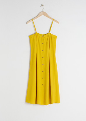 And other stories Square Neck Button Up Midi Dress