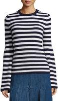 Michael Kors Striped Crewneck Cashmere Sweater, Navy