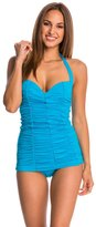 DKNY Brigitte Solid Shirred Swim Dress 8115482