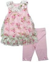 Nannette Baby Girl Lace Floral Top & Capri Leggings Set
