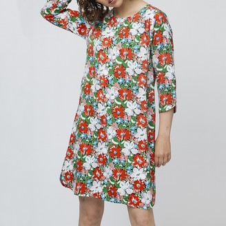 Floral Print Short Shift Dress with 3/4 Length Sleeves