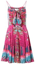 Camilla Short Dress With Tie Front in Pink