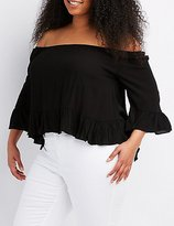 Charlotte Russe Plus Size Ruffle-Trim Off-The-Shoulder Top