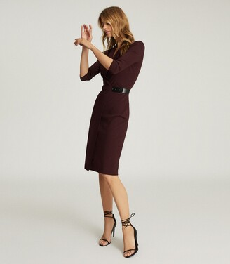 Reiss Luisa - Knitted Wrap Dress in Berry