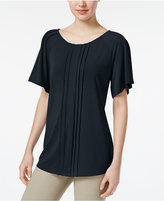 Charter Club Pleated Flutter-Sleeve Top, Created for Macy's